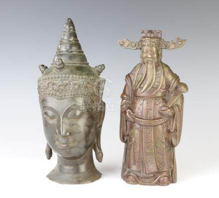 A bronze head and shoulders portrait bust of a Buddha 23cm x 8cm together with a Chinese bronze