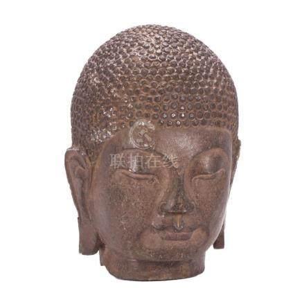 19th century Chinese bronze Buddha head.