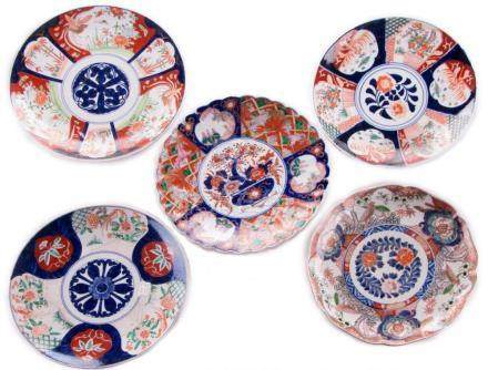 Five Japanese Imari dishes.