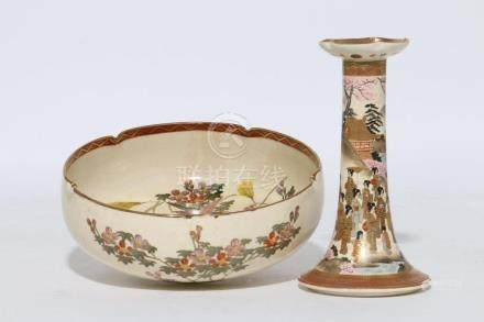 Two pieces of Japanese Satsuma porcelain.