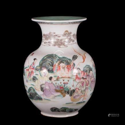 Chinese polychrome vase.