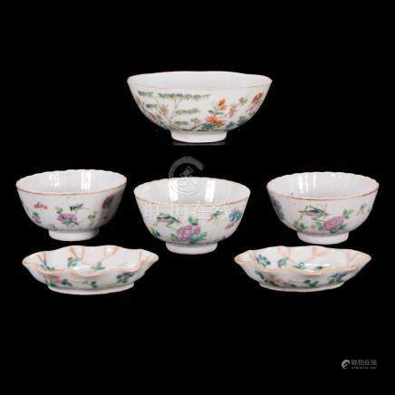 Six 19th century Chinese porcelain bowls.