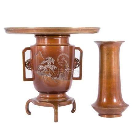 19th century Japanese bronze censer and vase.