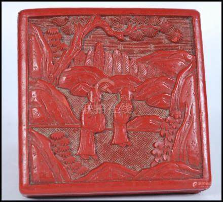A 19th century Chinese Cinnabar Lacquer box of square form depicting scenes of elder and child
