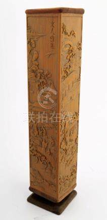A FINELY CARVED BAMBOO INCENSE TUBE