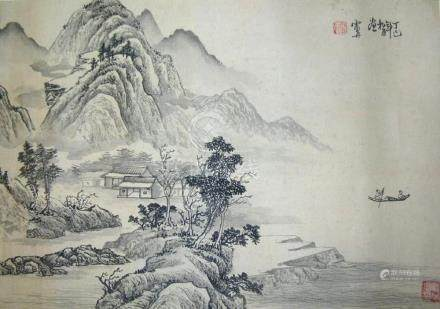 SIGNED LEI DAN.A QING DYNASTY INK AND COLOR ON PAPER HANGING