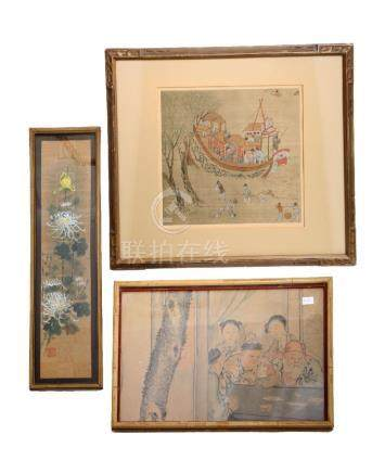 (3) A SET OF THREE OLD CHINESE PAINTINGS. FRAMED.H239.