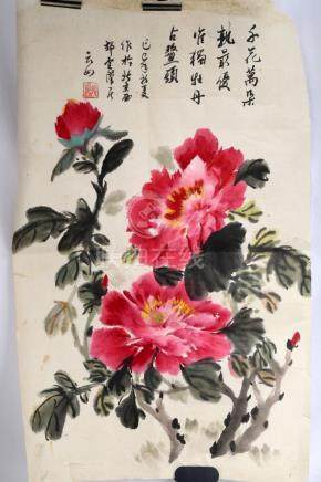 SIGNED ZHANG YUNRU. A INK AND COLOR ON PAPER HANGING PAINTIN