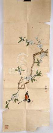 SIGNED YU FEIAN (1888-1959). A INK AND COLOR ON PAPER HANGIN