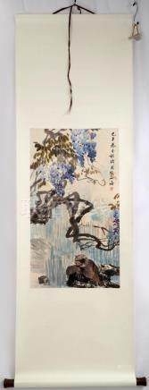 ATTRIBUTED AND SIGNED CHENG ZHANG (1869-1938). A INK AND COL