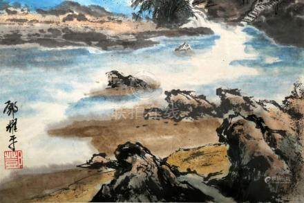 ATTRIBUTED AND SIGNED DENG YAOPING (1932- ). A INK AND COLOR