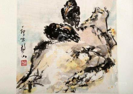 ATTRIBUTED AND SIGNED WU JINGSHAN (1943- ). A INK AND COLOR