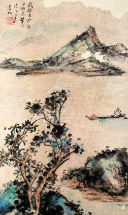 SIGNED HUANG BINHONG (1865-1955). A INK AND COLOR ON PAPER H