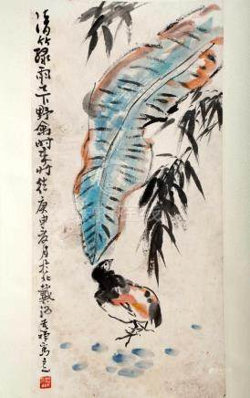 SIGNED LI KUCHAN (1899-1983). A INK AND COLOR ON PAPER HANGI
