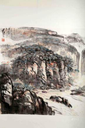 SIGNED HUANG TANG (1937- ). A INK AND COLOR ON PAPER HANGING