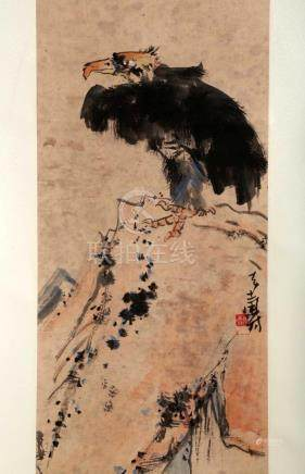 SIGNED PAN TIANSHOU (1897-1971). A INK AND COLOR ON PAPER HA