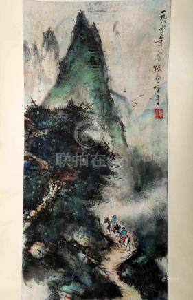 SIGNED LI XIONGCAI (1910-2001). A INK AND COLOR ON PAPER HAN