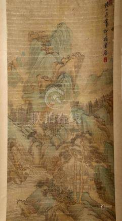 SIGNED CHEN HONGSHOU. A INK AND COLOR ON PAPER HANGING SCROL