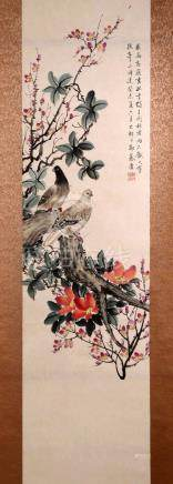 SIGNED ZHENG MUKANG (1901-1982). A INK AND COLOR ON PAPER HA