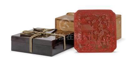 木胎剔紅攜琴訪友方漆盤 A CINNABAR LACQUER 'FIGURES' SQUARE PLATE