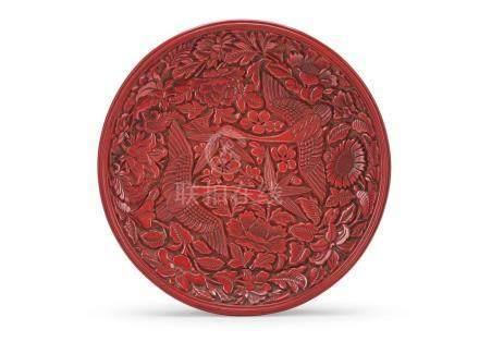 剔紅雁穿四季花卉紋漆盤 A CARVED CINNABAR LACQUER 'WILD GOOSE' DISH