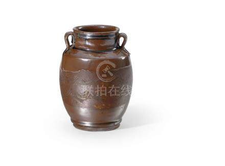 褐釉雙耳波紋罐 A RIBBED BROWN-GLAZED JAR