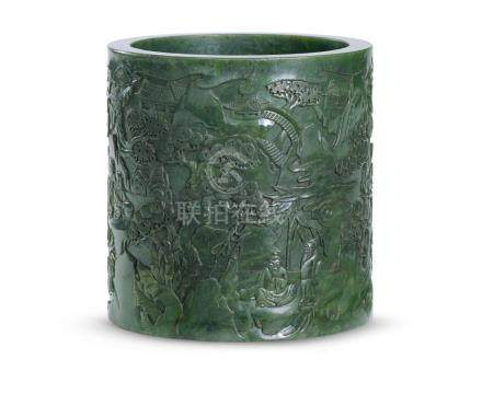 碧玉筆筒 A SPINACH-GREEN JADE BRUSHPOT