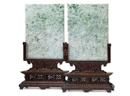 翠玉插屏一對 A PAIR OF JADEITE TABLE SCREENS