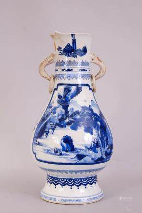 Chinese blue and white twin-handled vase, painted to both side with a panel depicting figures in a