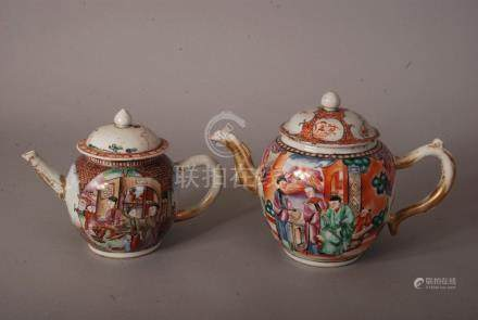 2 C18th Chinese famille rose teapots and covers, each painted with figures at leisure on riverside
