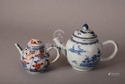 C18th Chinese blue and white teapot and cover painted with landscape, 21cm wide; together with a