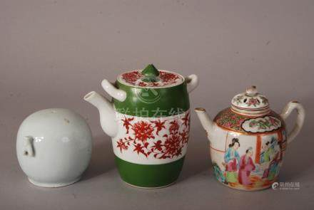 C19th Chinese famille rose teapot and cover painted with figures, 14.5cm wide; together with an