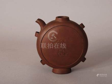 C19th Chinese Zisha teapot, of flattened circular form and with four handles, incised to both