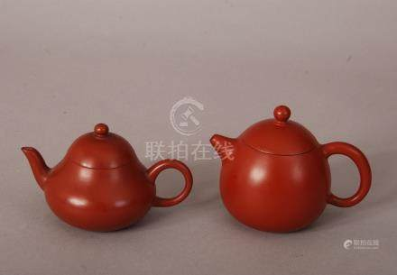 2 C19th/20th Chinese Zisha teapots and covers, one with a poetic inscription and a mark reading Meng