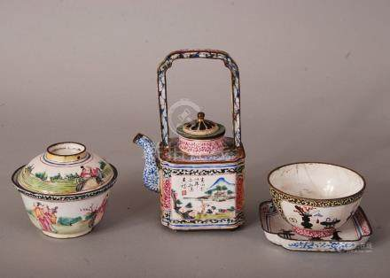 C18th Chinese 'Canton enamel' teapot and cover, with an upright overhead handle and decorated with