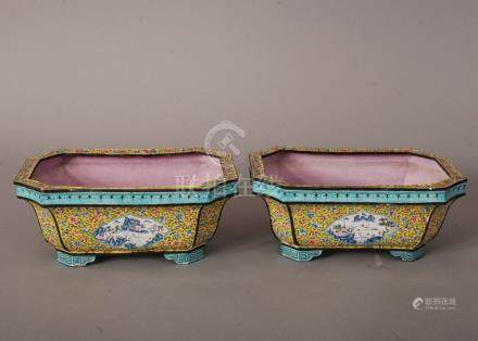 Pair of C19th Chinese painted enamel rectangular jardineres, painted with panels of landscape,