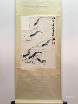 Chinese Hanging Scroll Of Shimp