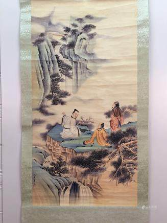 Chinese Hanging Scroll Of Landscapes And Figures