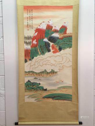 Chinese Hanging Scroll Of Landscapes