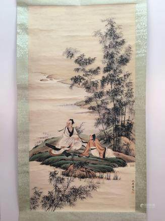 Chinese Hanging Scroll of Figures