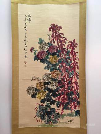 Chinese Hanging Scroll of Flowers And Insects