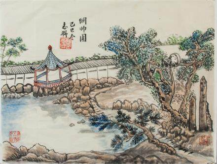 PAN ZHILIAN Chinese Watercolor of Garden