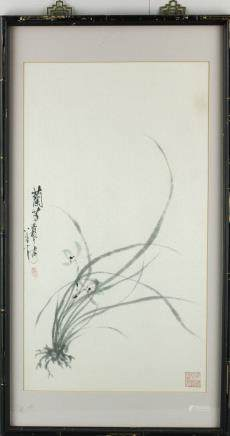 Chinese WC Painting w/ Two Artist Seals Framed