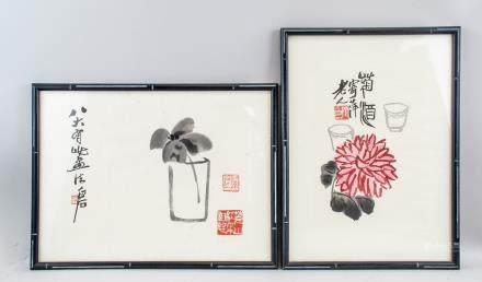 QI BAISHI 1864-1957 Chinese Watercolor 2 PC