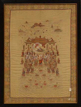 Large Framed Chinese Silk Embroidery. 19th Century with figu