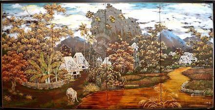 Vietnamese four panel lacquer Art Screen, signed Chu Ký, ins