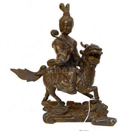 QING PERIOD CHINESE BRONZE OF MAN RIDING A QILIN - Beautiful