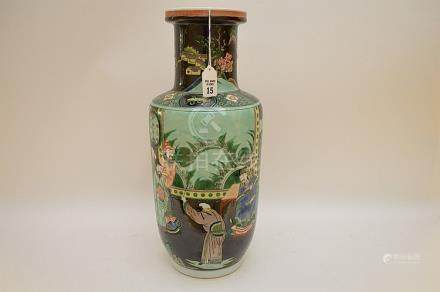 CHINESE FAMILLE VERTE PORCELAIN VASE. Condition: good with n