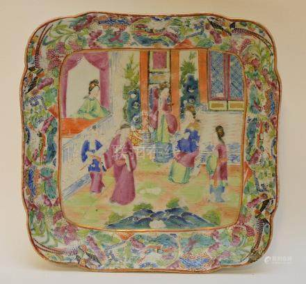 EARLY CHINESE ROSE MEDALLION PORCELAIN SQUARE DISH. Conditio