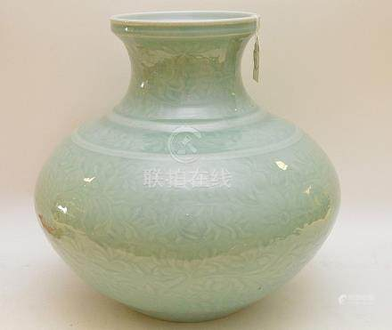 LARGE CHINESE CELEDON PORCELAIN VASE with floral and scroll